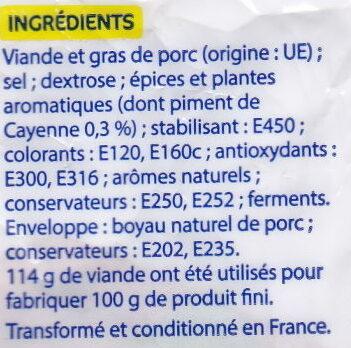 Chorizo Fort - Ingrédients - fr