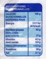 Chorizo Fort - Informations nutritionnelles - fr