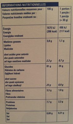 Riz soufflé au chocolat au lait - Informations nutritionnelles - fr