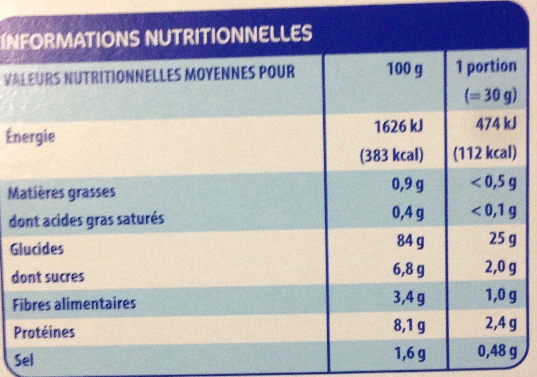 Corn flakes nature - Informations nutritionnelles - fr