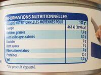 Morceaux de thon albacore au naturel - Valori nutrizionali - fr