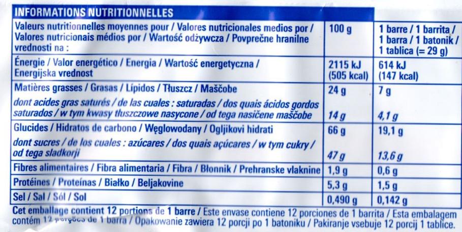 12 barres au caramel et biscuit croquant - Nutrition facts - fr
