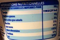Crème Fraîche Épaisse - Informations nutritionnelles