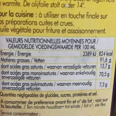 Huile D'olive Vierge Extra - Ingrediënten - fr