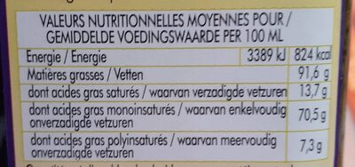 Huile D'olive Vierge Extra - Voedingswaarden - fr