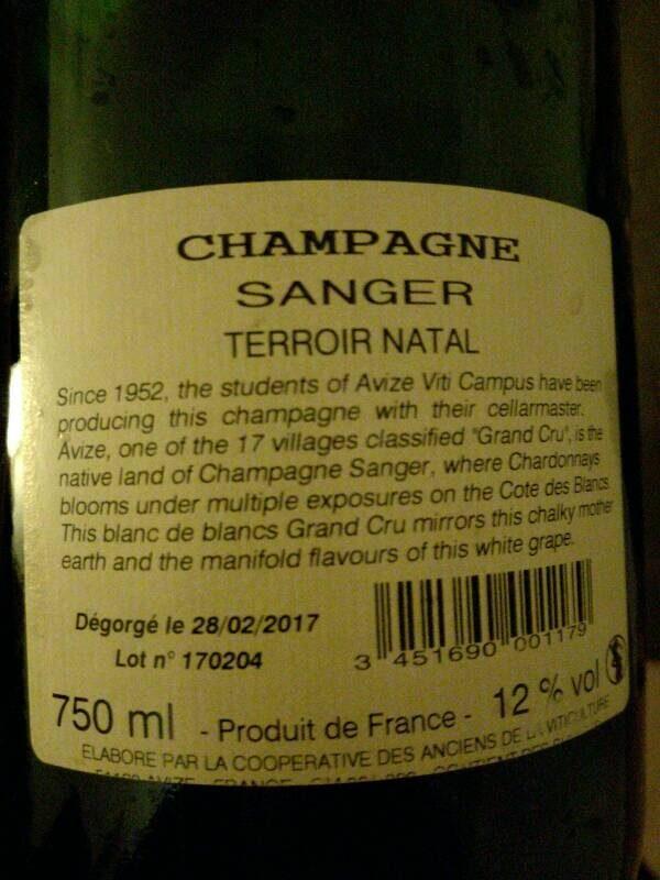 Champagne - Informació nutricional - es