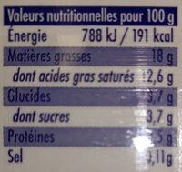 La Crème legère fluide en brique de Condé-sur-Vire - Informations nutritionnelles - fr