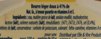 Beurre léger 41% - Nutrition facts - en
