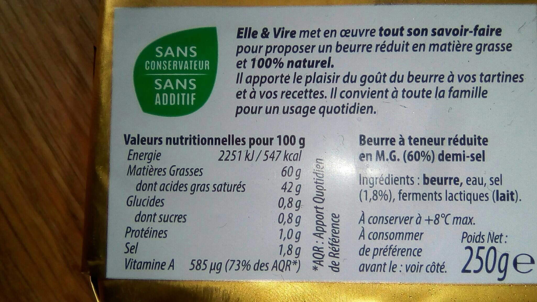 La plaquette 60% demi-sel - Voedingswaarden - fr