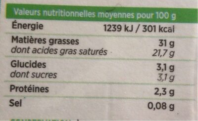 Crème fleurette de Normandie - Voedingswaarden - fr