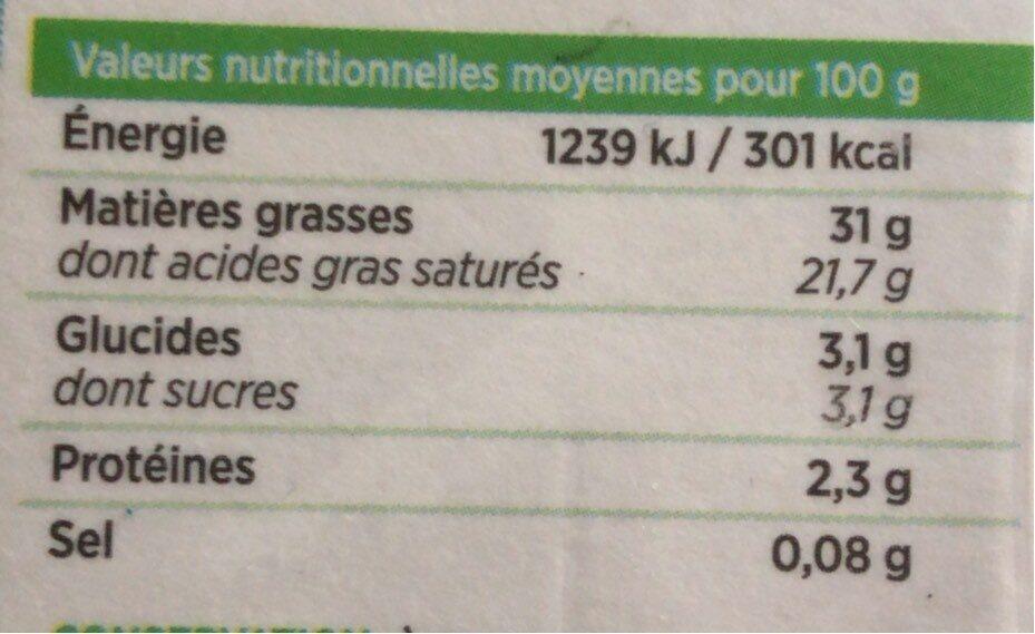 La Crème Fleurette entière de Normandie - Voedingswaarden - fr