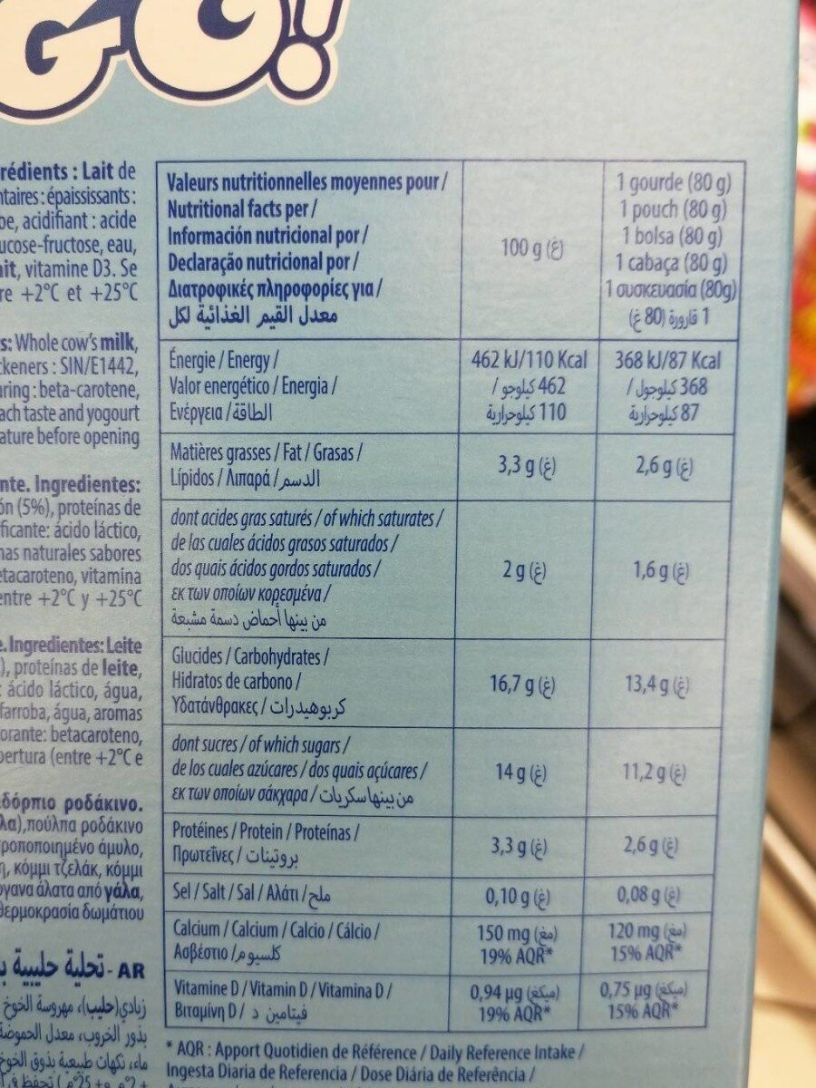 Yaggo - Informations nutritionnelles - fr