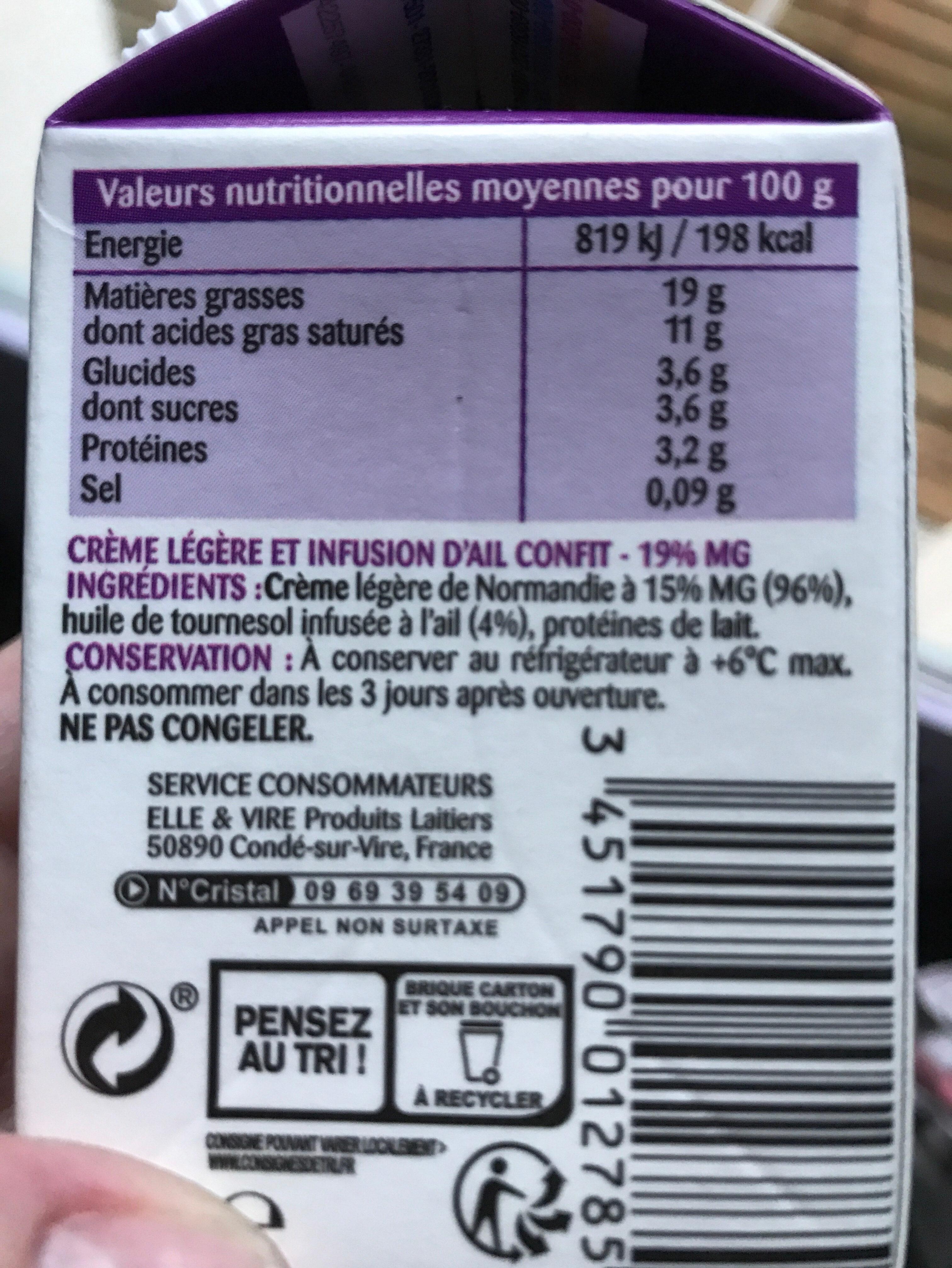 La Crème légère & Ail confit infusé - Ingrediënten - fr