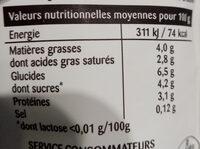 Spécialité Laitière épaisse sans lactose en poche - Informations nutritionnelles - fr