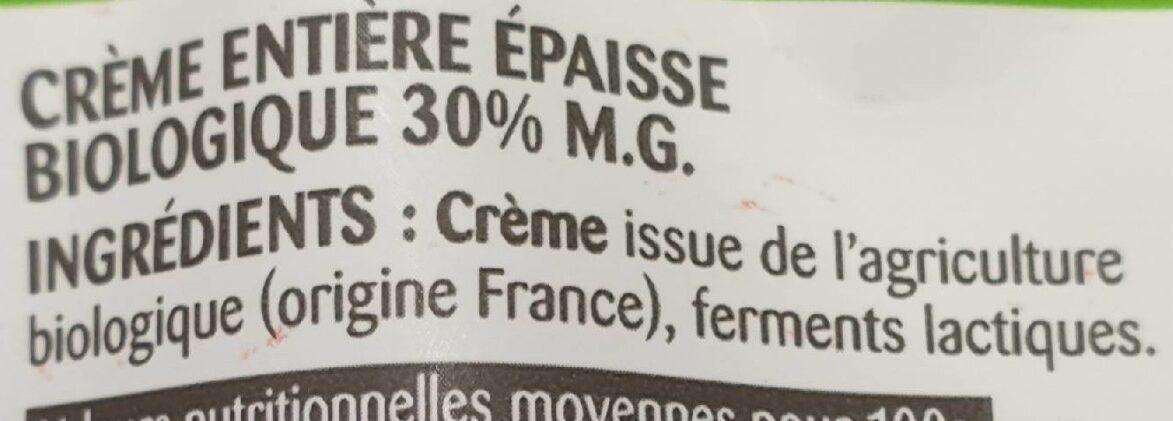 La Crème entière épaisse biologique en poche - Ingrediënten - fr