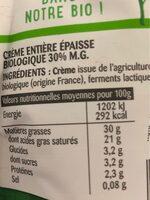 La Crème entière épaisse biologique en poche - Voedingswaarden - fr