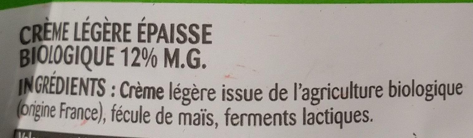 La Crème légère épaisse biologique en poche - Ingrediënten - fr