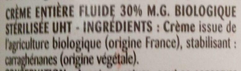 La Crème fluide bio entière - Ingrediënten - fr