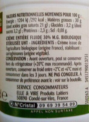 La Crème fluide bio entière - Voedingswaarden - fr