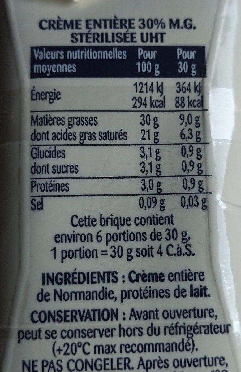 La Crème entière fluide en brique de Condé-sur-Vire - Voedingswaarden - fr