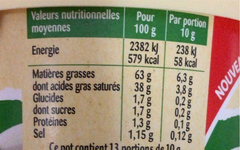 Le Fouetté de Beurre demi-sel - Informations nutritionnelles - fr