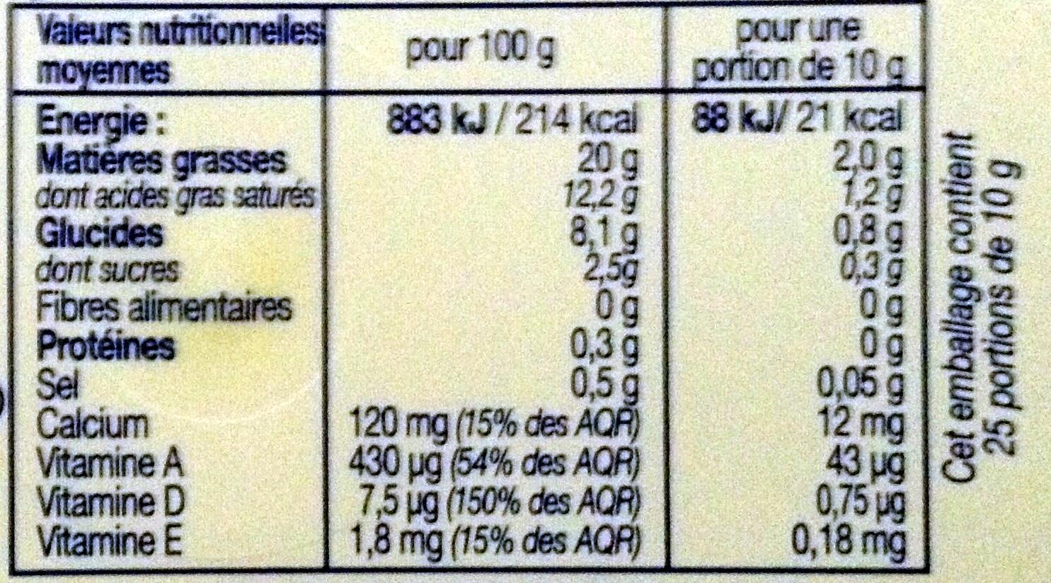 Léger 20% - Nutrition facts