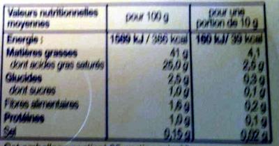 Beurre léger 41% MG Crémeux Le Demi-Ecrémé Doux - Nutrition facts - en