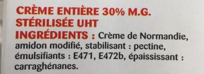 La Crème entière semi-épaisse UHT en brique de Normandie - Ingrediënten - fr