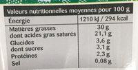 La Crème entière semi-épaisse UHT en brique de Normandie - Voedingswaarden - fr