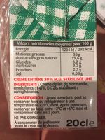Crème fluide UHT 30% - Ingredients