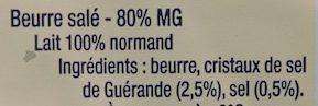Le Beurre de la laiterie de Condé-sur-Vire aux cristaux de sel - Ingrediënten - fr