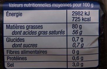 Le Beurre de la laiterie de Condé-sur-Vire aux cristaux de sel - Voedingswaarden - fr