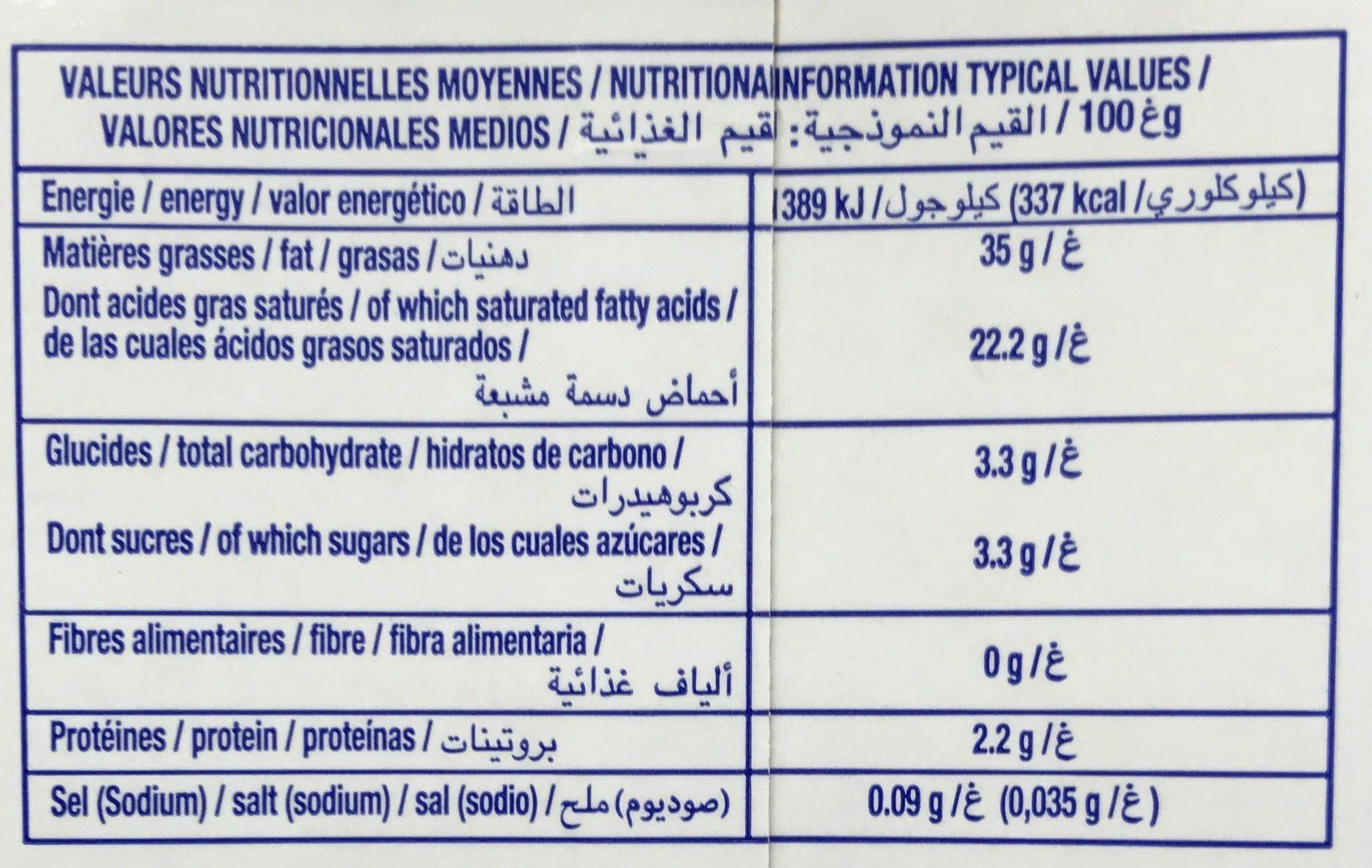 Crème Cuisson - Informations nutritionnelles - fr