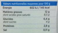 La Crème Fleurette légère de Normandie - Informations nutritionnelles - fr