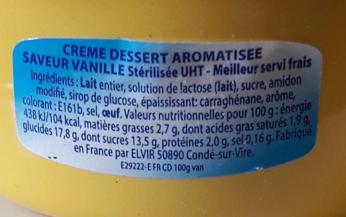 Crème dessert aromatisée saveur vanille stérilisée UHT - Voedingswaarden - fr
