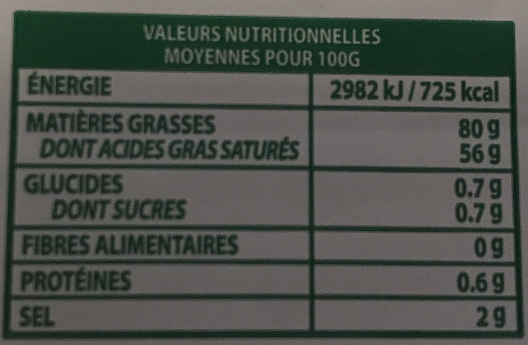 Le Beurre Tendre plaquette demi-sel - Voedingswaarden - fr