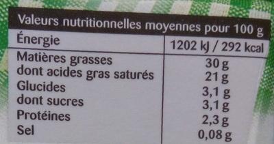 Crème fleurette de Normandie entière - Informations nutritionnelles - fr