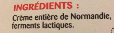 Crème entière épaisse - Ingrédients - fr