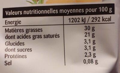 Crème entière épaisse - Informations nutritionnelles - fr