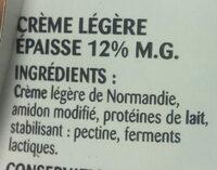 Crème Légère épaisse 12% MG - Ingredientes - fr