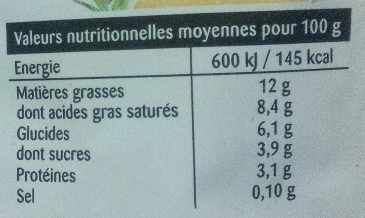 Crème Légère épaisse 12% MG - Informação nutricional - fr