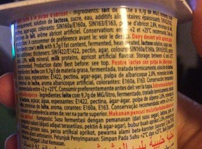 Dessert lacté pulpé Yaggo! stérilisé UHT - Abricot - Ingrédients - fr