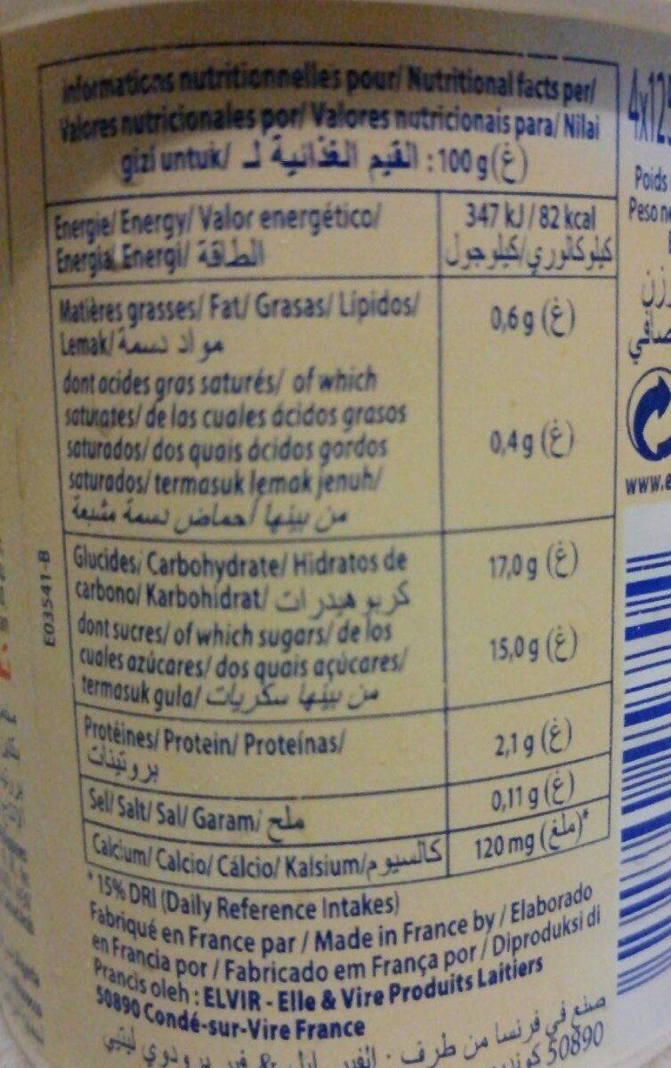 Dessert lacté pulpé Yaggo! stérilisé UHT - Abricot - Informations nutritionnelles - fr