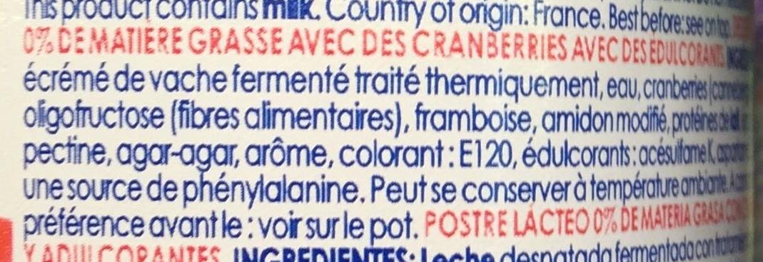 Cranberries 0% - Ingredients - fr