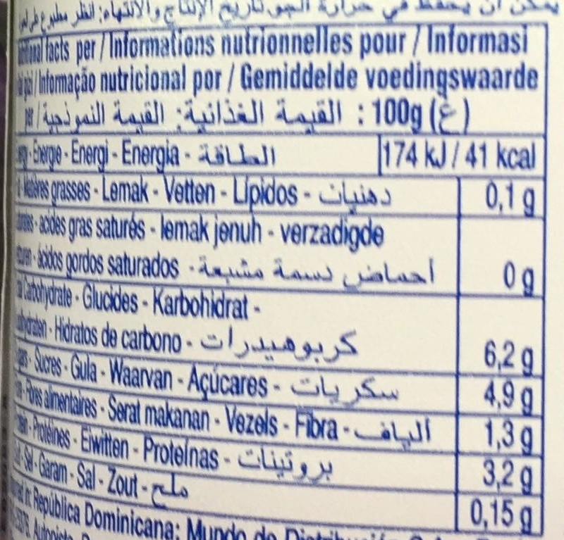 Cranberries 0% - Nutrition facts - fr