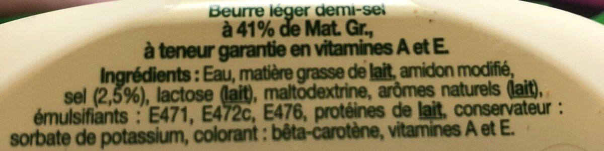 Le Beurre Léger 41%MG demi-sel - Ingrédients