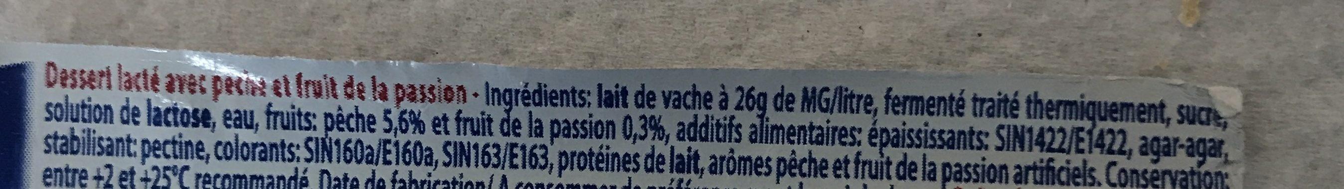 Desser lacté aux fruits stérilisé UHT - Pêches Passion - Ingrediënten - fr