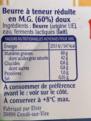 Beurre à teneur réduite en MG (60%) - Informations nutritionnelles - fr