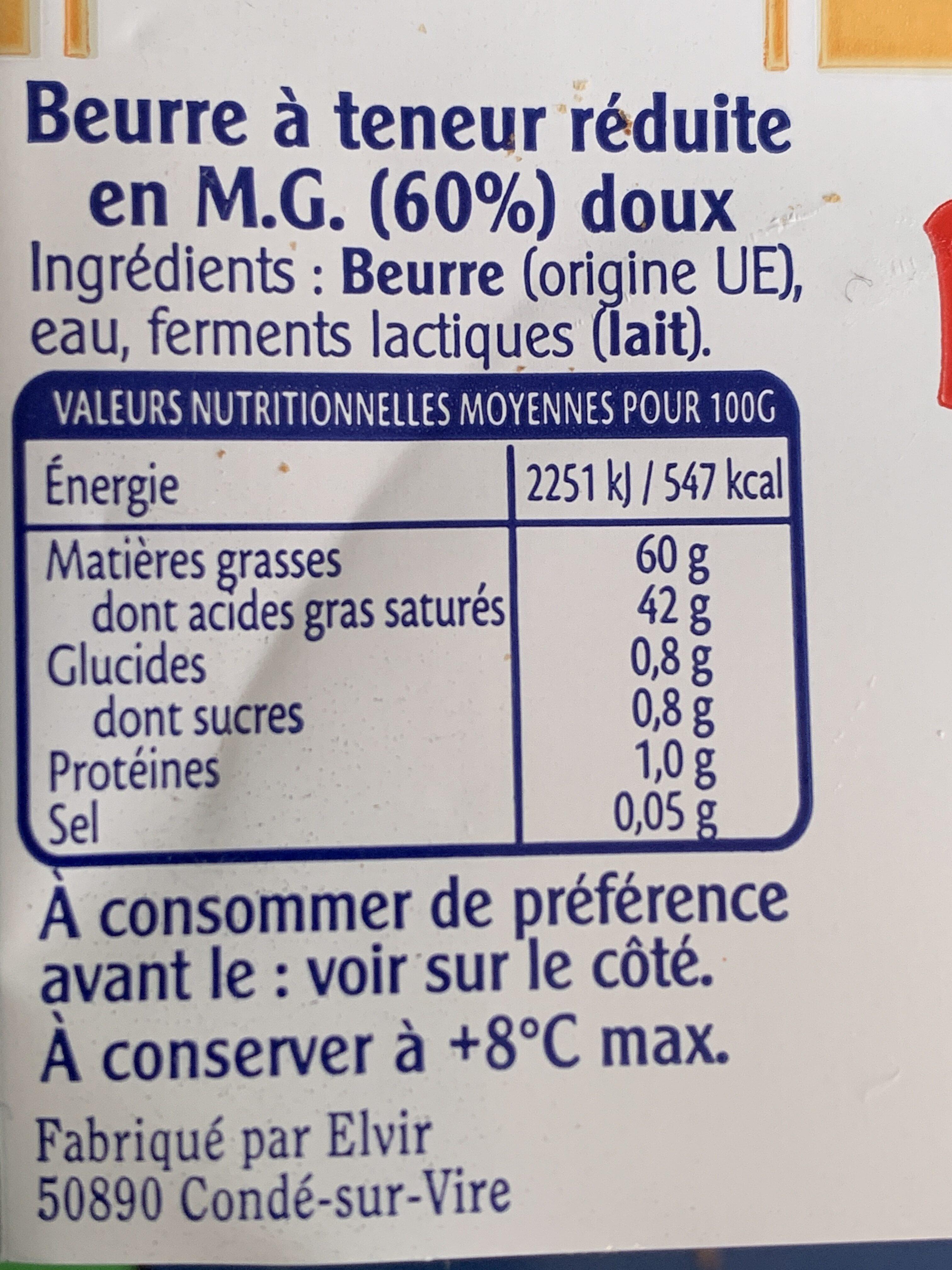 Beurre à teneur réduite en MG (60%) - Nutrition facts - fr