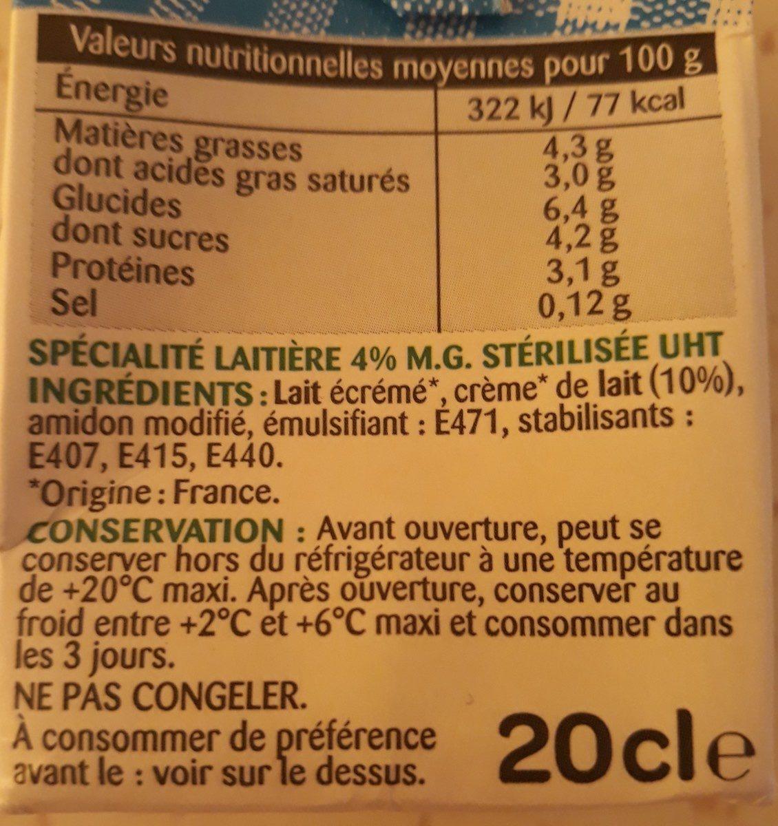 La Crème extra-legère fluide en brique - Ingrédients - fr